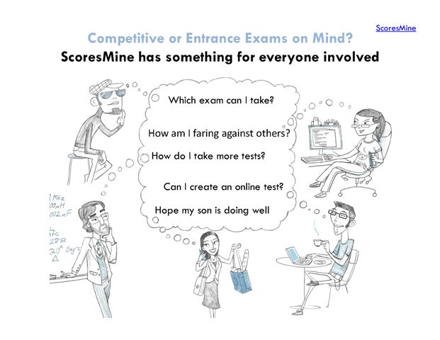 ScoresMine. Competitive or Entrance Exams on Mind? ScoresMine has something for everyone involved. Which exam can I take? How am I faring against others? How do I take more tests? Can I create an online test? Hope my son is doing well
